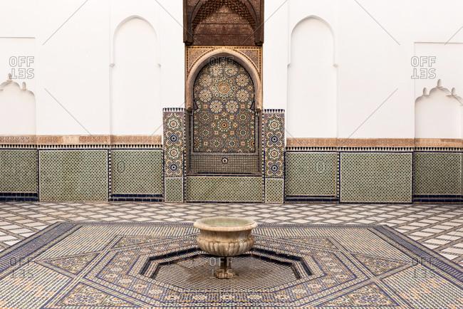 Marrakesh, Morocco - September 28, 2017: Courtyard of Dar si Said