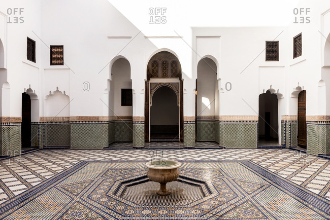 Marrakesh, Morocco - September 28, 2017: Courtyard of Dar si Said