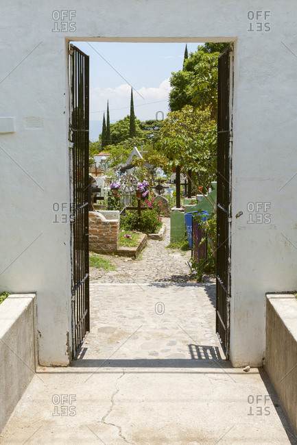 Ajijic, Mexico - July 20, 2016: Entrance to a cemetery