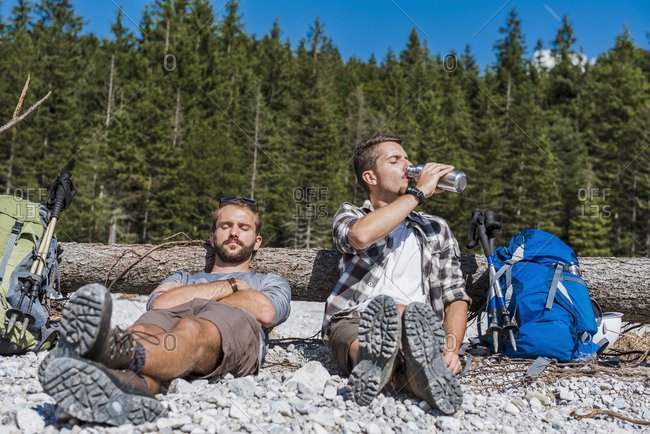 Germany- Bavaria- two hikers having a rest