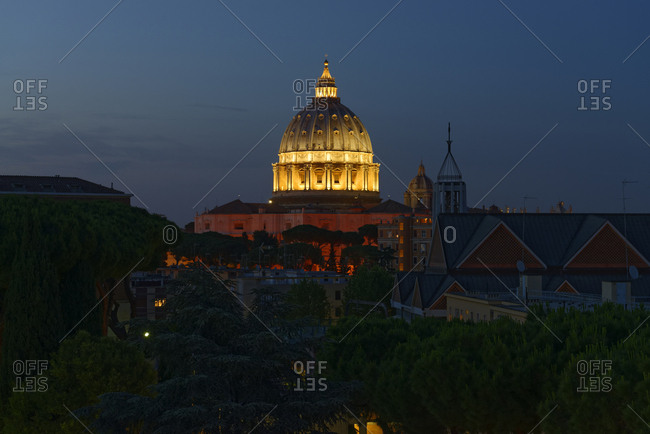 Italy- Rome- illuminated St. Peter's Basilica at night