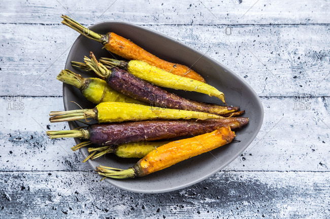 Bowl of fried heirloom carrots