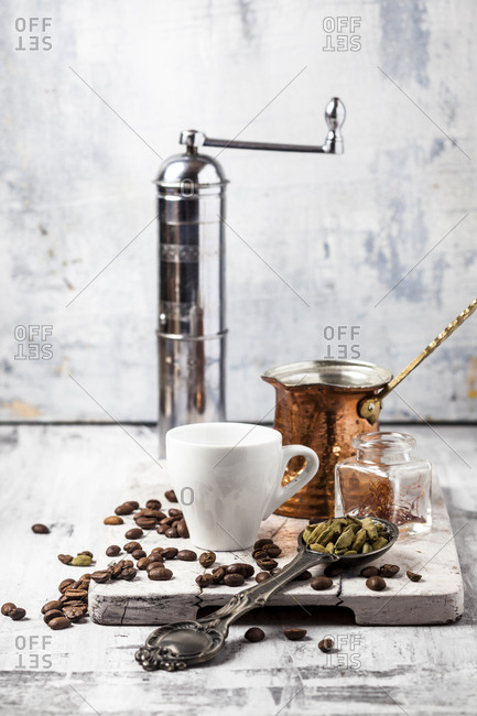 Ingredients and accessories for preparing Arabian Coffee