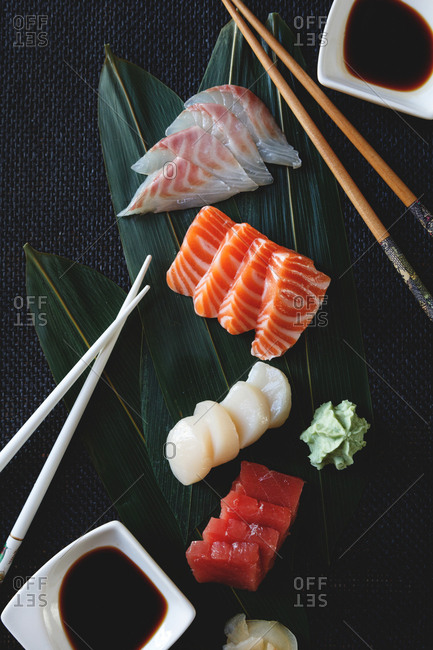 Fresh raw seafood from above
