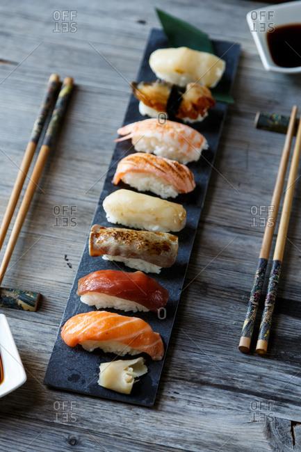 Sushi varieties on board