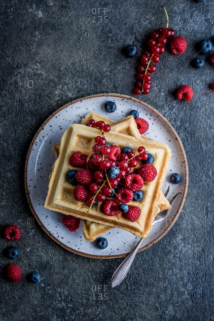Waffles with various berries