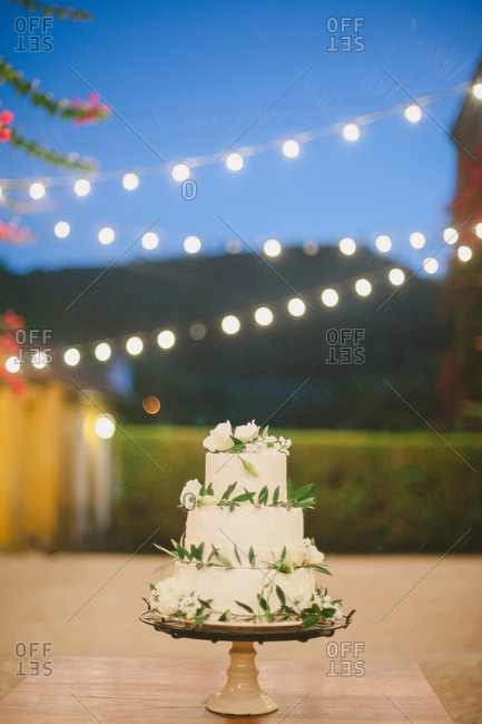 Tiered wedding cake at a wine estate