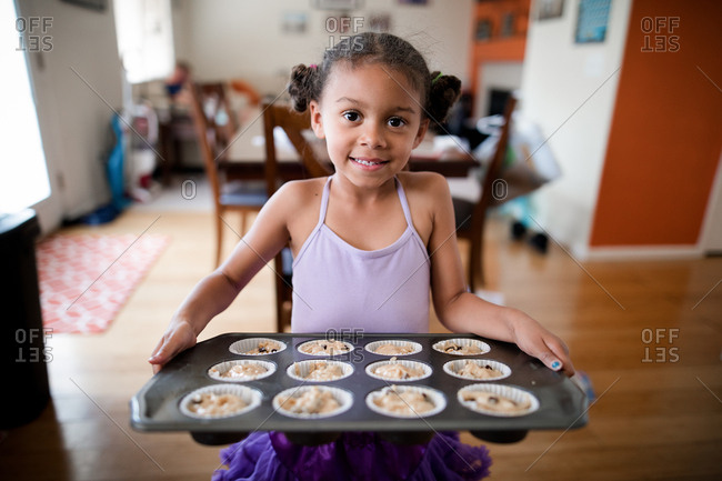 Little ballerina baking muffins