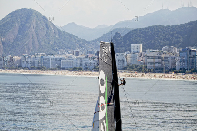 August 1, 2015: Thomas Coville and the Ultime Class 100' VPLP designed trimaran Sodebo in Rio de Janeiro, Brazil. Thomas Coville (FRA) and his 31m maxi trimaran Sodebo Ultim? has successfully broken the solo round the world record, completing the 28400 nm route in 49 days 3 hours 7 minutes and 38 seconds.