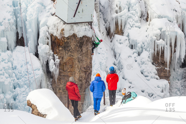 January 16, 2016: Rafal Andronowski competes in the 2016 Ouray Ice Festival Elite Mixed Climbing Competition at the Ice Park in Ouray, Colorado. Andronowski placed 12th in the men's division.
