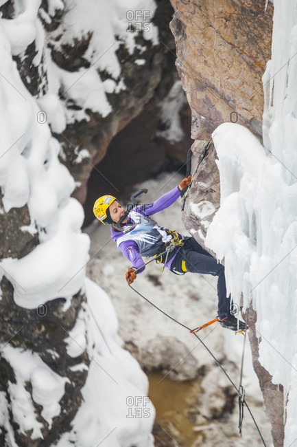 January 16, 2016: Angelika Rainer competes in the 2016 Ouray Ice Festival Elite Mixed Climbing Competition at the Ice Park in Ouray, Colorado. Rainer placed second in the women's division and tied for fifth overall.
