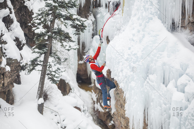 January 16, 2016: Will Gadd competes in the 2016 Ouray Ice Festival Elite Mixed Climbing Competition at the Ice Park in Ouray, Colorado. Gadd placed seventh in the men's division.