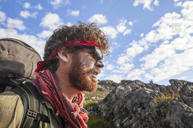 Portrait of a bearded hiker wearing sunscreen, Garibaldi Provincial Park