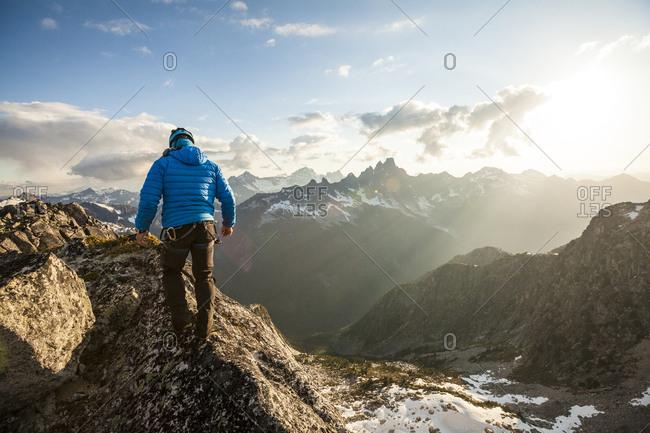 Mountain climber in North Cascade Mountain Range, Chilliwack, British Columbia, Canada