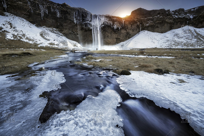 Winter scene with glacier, Iceland