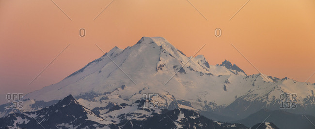 Panorama of Mount Baker at sunset, Washington State, USA