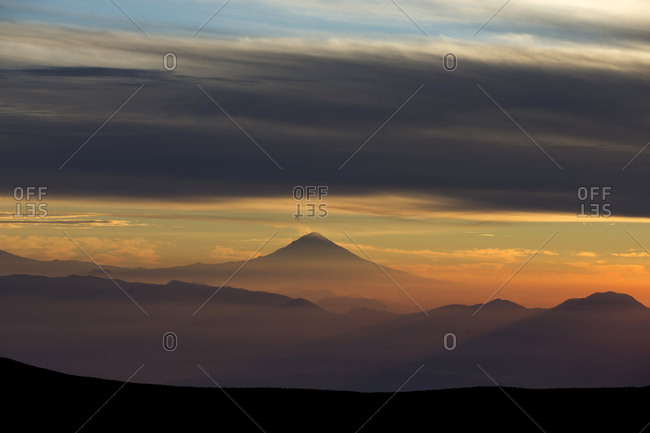 Clouds over Nevado de Toluca landscape at moody dawn, Toluca, State of Mexico, Mexico