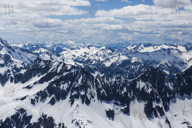 Snow-covered mountain range, North Cascades National Park, Washington State, USA