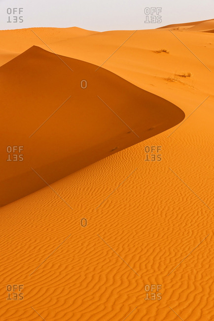 Sand dune landscape in Sahara desert. Erg Chebbi, Merzouga, Morocco