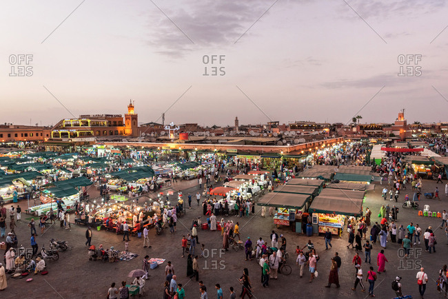 Marrakesh, Morocco - September 28, 2017: Aerial view of marketplace at dusk