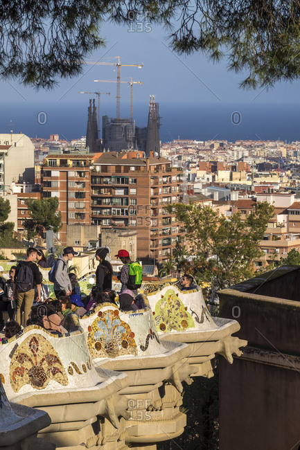 Barcelona, Spain - April 24, 2016: Park Guell, by Antoni Gaudi, is one of the most visited landmarks in Barcelona