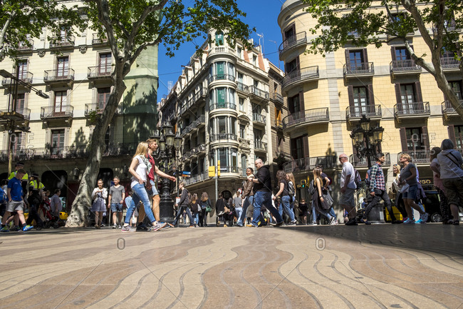 Barcelona,  Spain - May 1, 2016: Las Ramblas, one of the most important landmark in the capital of Catalonia