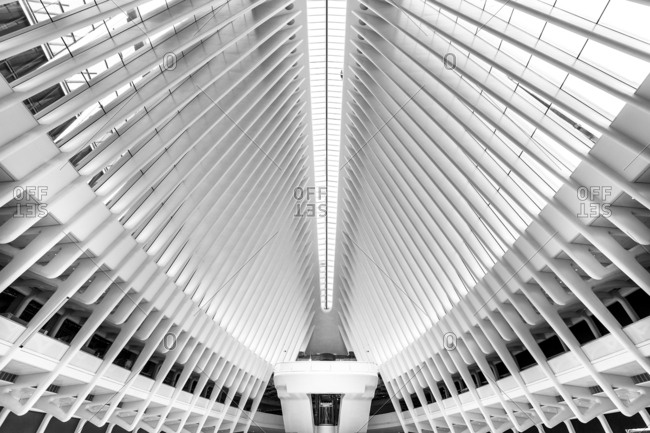 New York, New York, USA - December 28, 2015: The World Trade Center Transportation Hub, designed by architect Santiago Calatrava