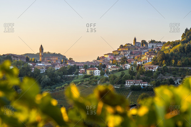 Hillside Village at Sunset, Monforte d�Alba, Piedmont, Italy