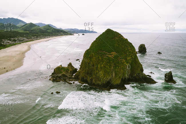 Cannon Beach, Oregon - June 13, 2017: Haystack Rock on the coast
