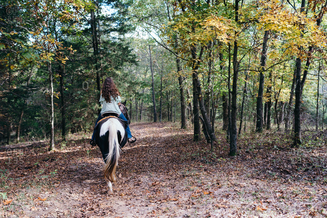 Rear view of young woman riding horseback through a forest