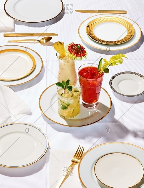Still life of drinks served on a plate