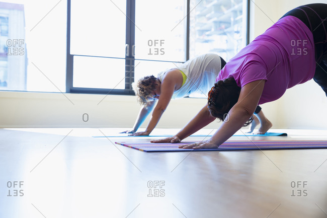 Female friends practicing downward facing dog position yoga against window in studio