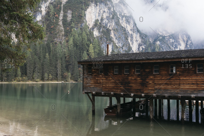 Boat house on Lake Prags, Italy
