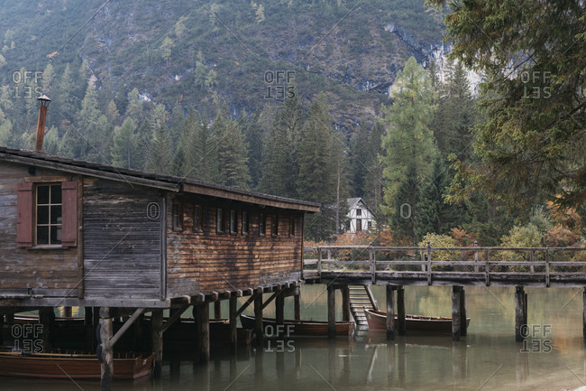 Boat house on Lake Prags in the Dolomites in South Tyrol, Italy