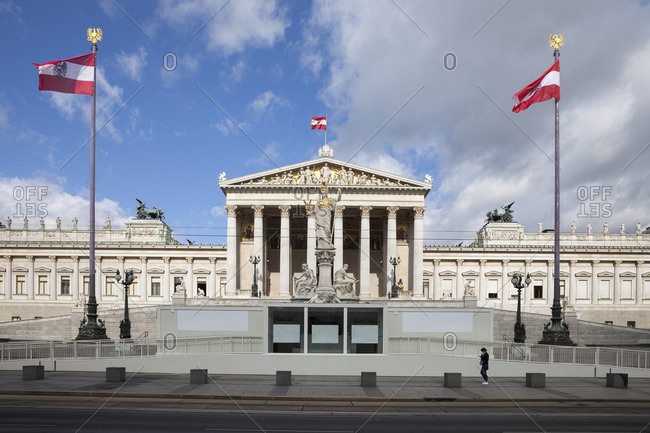 Austria- Vienna- view to parliament building with statue of goddess Pallas Athene in the foreground