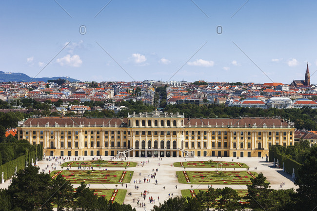 Austria- Vienna - July 16, 2017: View to Schoenbrunn Palace from above
