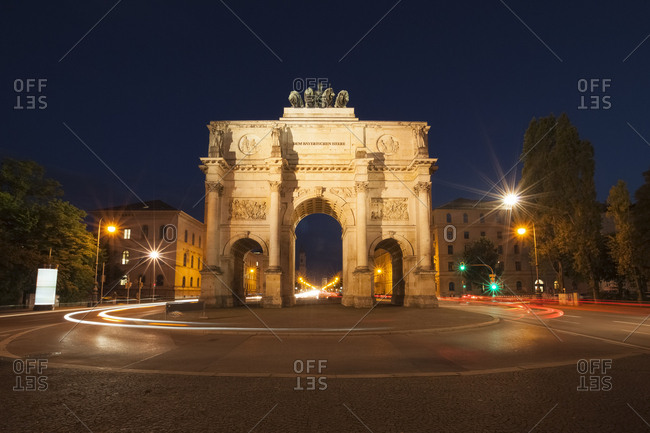 Germany- Munich- Victory Gate at night
