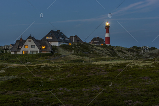Germany- North Frisia- Sylt- Hoernum- thatched-roof houses and lighthouse