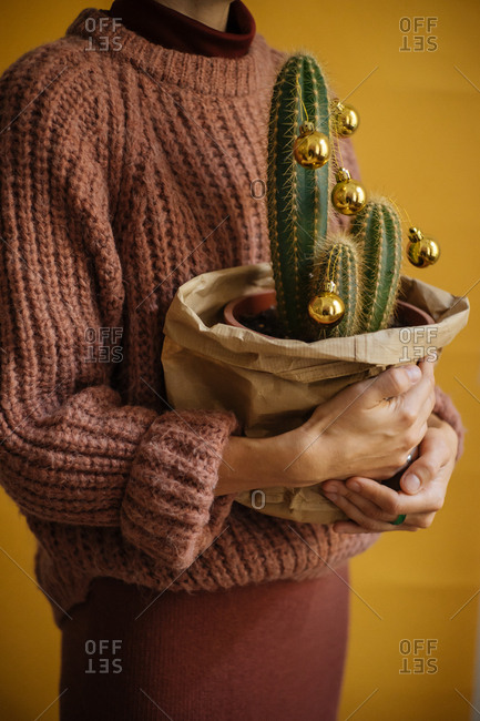 Woman holding a decorated cactus with Christmas bulbs