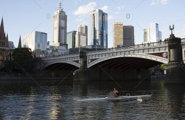 Melbourne, Australia - September 27, 2017: Rower on the Yarra River
