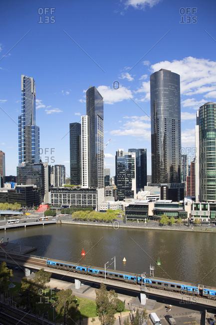Melbourne, Australia - September 26, 2017: Skyscrapers along the Yarra river