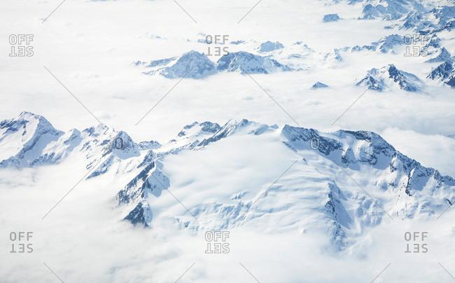 Aerial view of Swiss alps, Interlaken, Bern, Switzerland, Europe