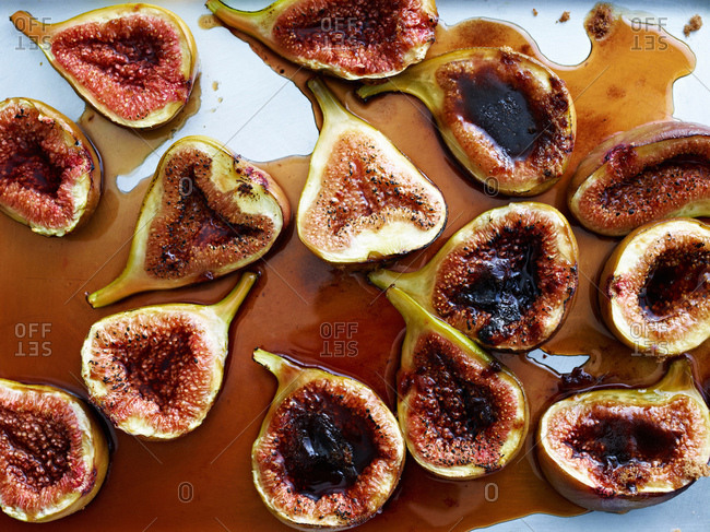 Roasted figs, overhead view