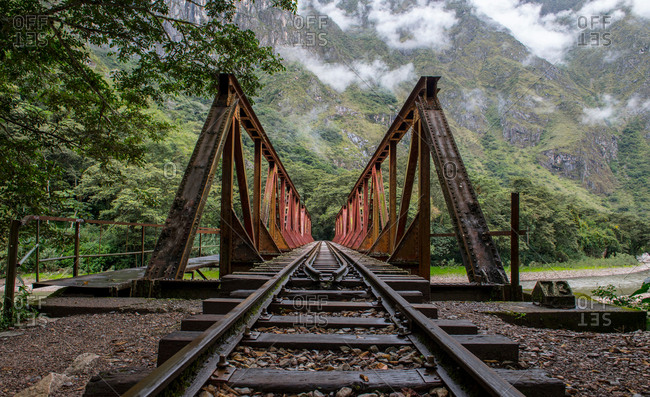 Train tracks that lead up to Aguas Calientesthe starting point for excursions to Machu Picchu, Peru