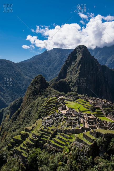Elevated view of inca ruins, Machu Picchu, Cusco, Peru, South America