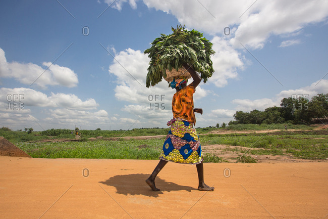 BENIN, AFRICA - AUGUST 31, 2017: Side view of African woman walking on road and carrying basket with grass on head