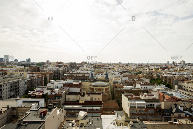 Madrid ,Spain - May 28, 2017: Madrid City with high density of buildings