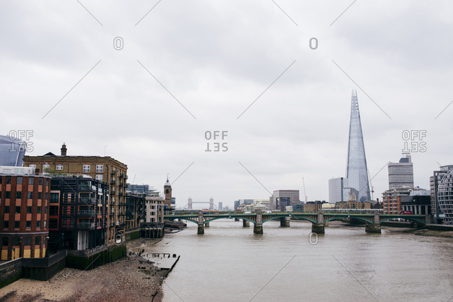 London, UK - May 4, 2017: Cityscape of river bridges connecting old and modern city districts