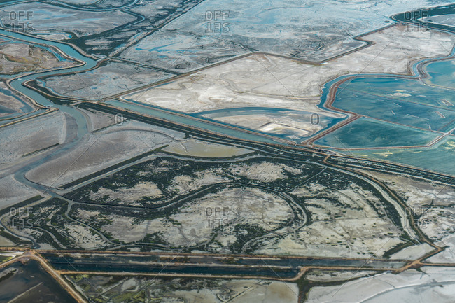 Aerial shot of landscape pattern in sunlight