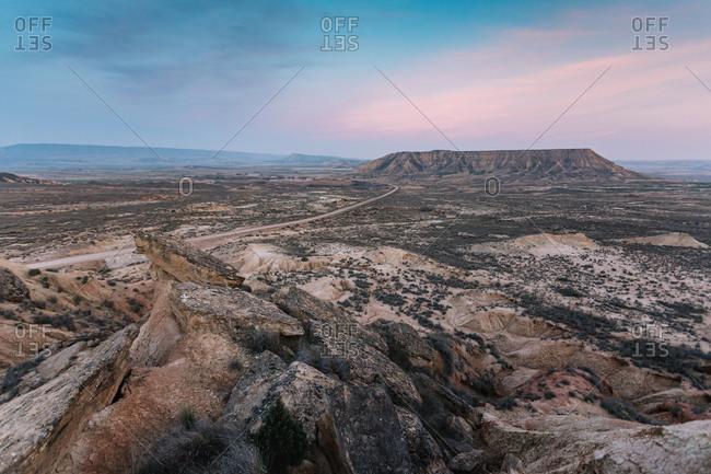 Surreal landscape of rocky lands